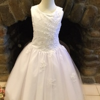 New Arrival Pearls Beaded Sequined White Kids First Communion Dresses Fully Lined Zipper Back Girl Wedding
