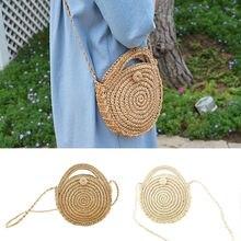 цена Women Retro Beach Straw Bag Rattan Woven Round Handbag Messenger Shoulder Bag в интернет-магазинах
