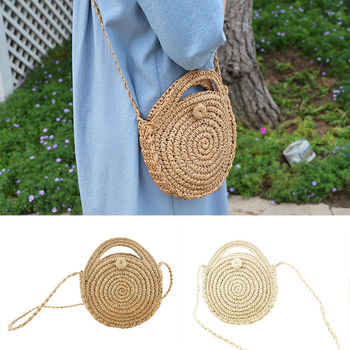 Women Retro Beach Straw Bag Rattan Woven Round Handbag Messenger Shoulder