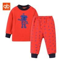 GB Brand Baby Boys Clothing Sets Cute Cartoon Winter Warm Thicken Fleece Sweatshirt Pants Cotton Casual