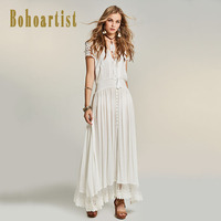 Bohoartist Women Patchwork White Maxi Dress Summer Hollow Out Lace Dress Straps Tassel Bohemia A Line