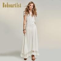 Bohoartist Women Patchwork White Maxi Dress Summer Hollow Out Lace Dress Straps Tassel Bohemia A Line