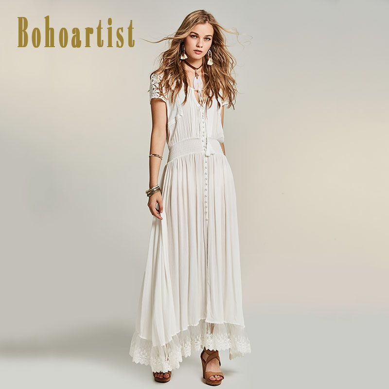 bohoartist women patchwork white maxi dress summer hollow out lace dress straps tassel bohemia a. Black Bedroom Furniture Sets. Home Design Ideas
