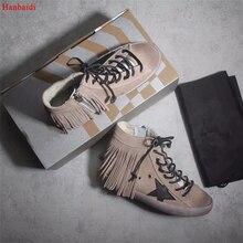 Hanbaidi/женская повседневная обувь с высоким берцем, туфли в старом стиле, женская обувь с кисточками и блестками, женская обувь из флиса, tenis feminino