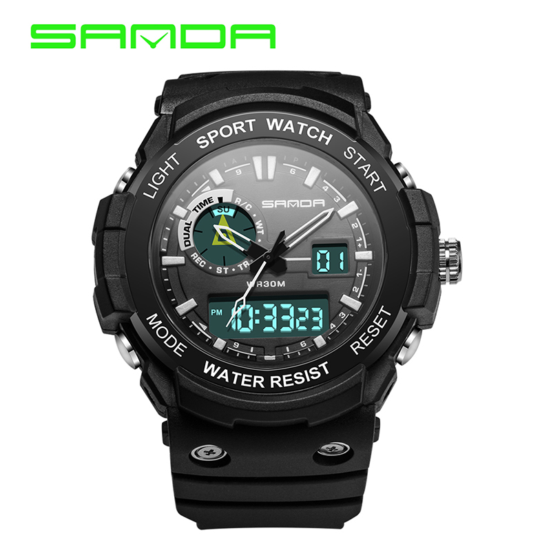 SANDA men's casual sports watch LED digital watch waterproof dual time digital sports multi-function quartz watch Reloj Hombre sanda 736 male led sports watch