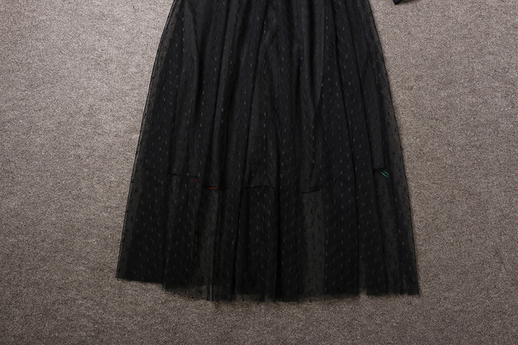 Long Sleeve Sexy Mesh Carnation Embroidery Slim Black Long Dress 9