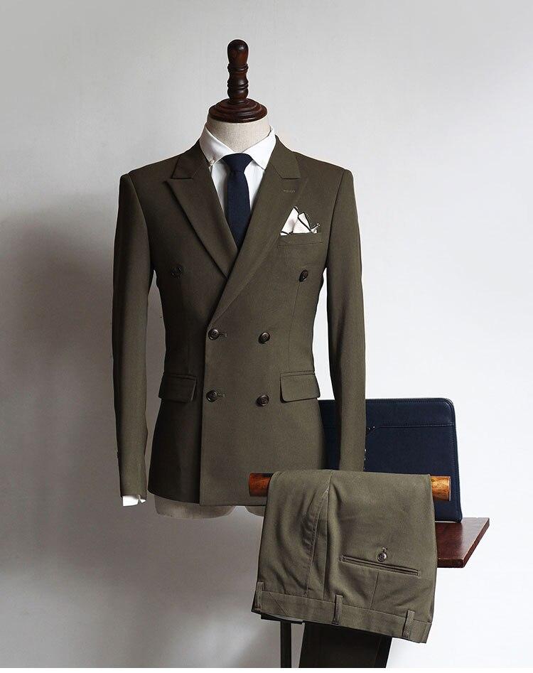 2 Stuks Dubbele Breasted Nieuwe Aankomst Pakken Custom Mannen Suits Bruidegom Tuxedos Bruidsjonkers Wedding Suits (jas + Broek)