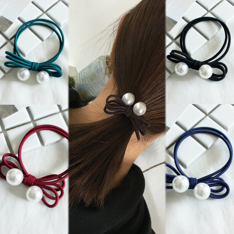1PC Ponytail Holder Korean 5 Colors Women Simple Hair Ring Charm Handmade Graceful Headwear Exquisite Stretchy Bowknot Pearl in Women 39 s Hair Accessories from Apparel Accessories