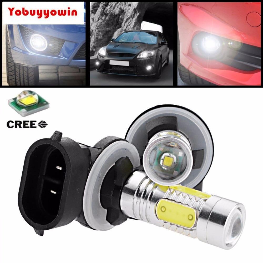 Car Fog Lamp 2pcs/lot 11w 881 880 889 890 H27 Cree Chips Xp-e Q5 4-cob Led Projector Lens Drl Fog Light Bulb For Chevrolet Dodge Gmc Ford Modern Design