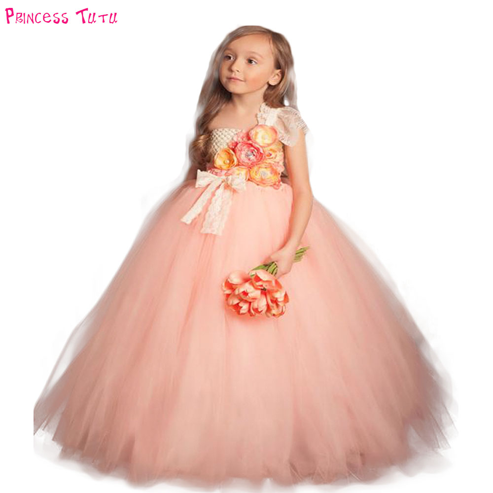 bbef4af2f15ce Champagne and Peach Girls dress for Party Wedding Flower Gold Baby ...