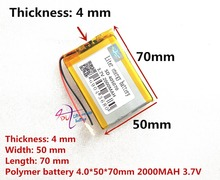 405070 3.7V 2000mAH 385070 405068 PLIB; polymer lithium ion / Li-ion battery for GPS,mp3,mp4,mp5,dvd,bluetooth,model toy