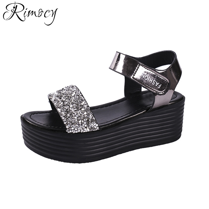 f4c6ff4f1be97 Rimocy silver glitter ankle strap platform sandals for ladies high heels  comfortable wedges summer shoes woman casual sandalias-in High Heels from  Shoes on ...