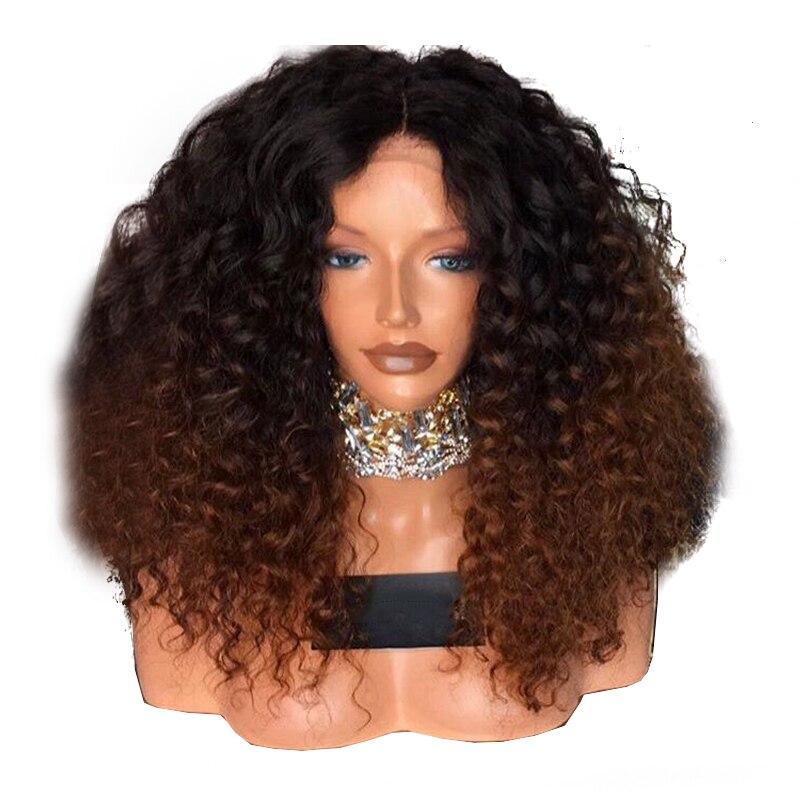 EEWIGS 24 pulgadas marrón resistente al calor peluca rizado barato peluca con malla frontal con cabello Natural Ombre sintético pelucas para mujeres