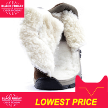 Men boots 2018 winter genuine leather shoes warm thick wool men ankle snow boots non-slip winter boots for -40 degrees