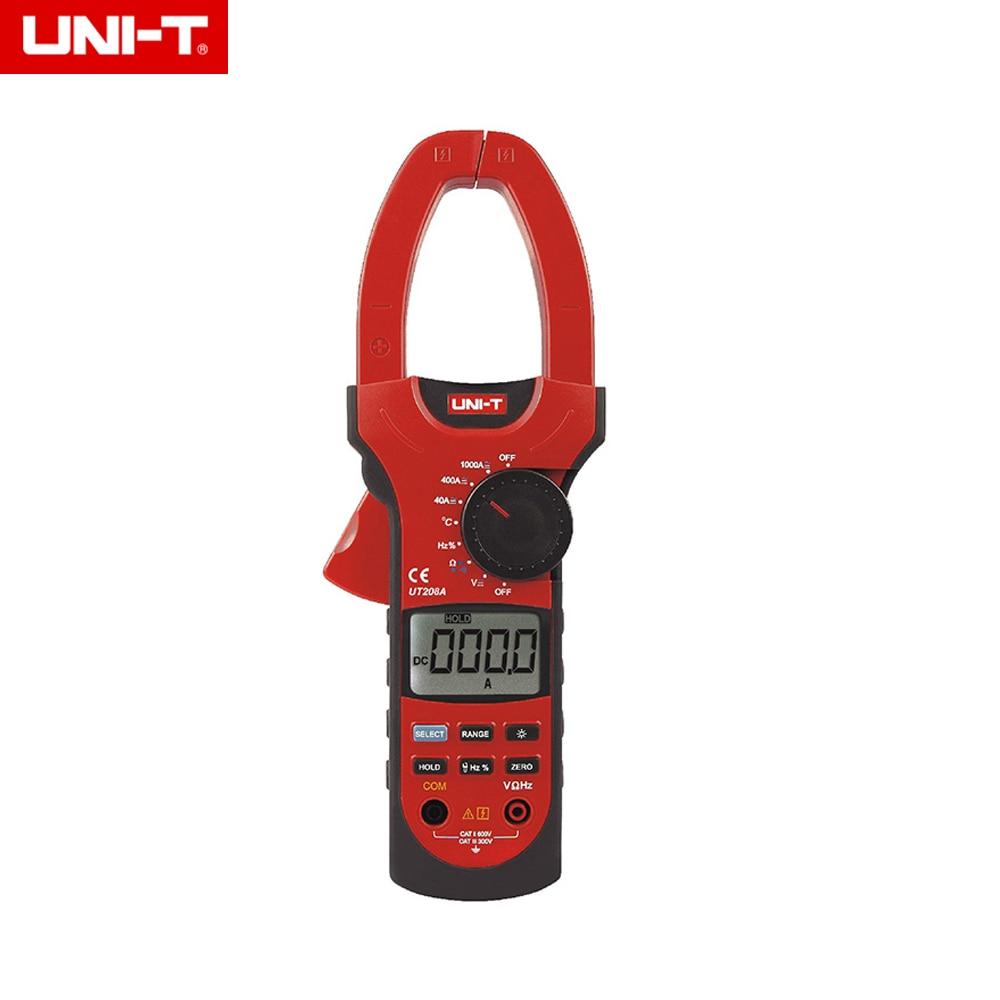UNI-T UT208A Professional Auto/Manual Range Digital Clamp Multimeters w/ Capacitance Temperature Test 1000A uni t ut60b modern auto ranging data hold dmm digital multimeters w capacitance