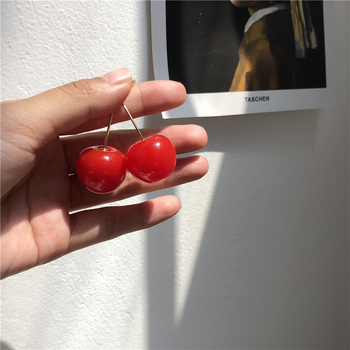 AOMU Japan Cute Sweet Simulation Red Cherry Gold Color Fruit Stud Earrings for Women Girl Student Gift 2