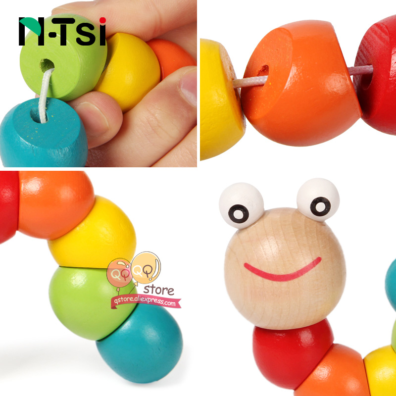 Colorful Wooden Worm Puzzles Kids Learning Educational Didactic Baby Development Toys Fingers Game For Children Montessori Gift #6