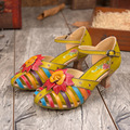 2016 summer high-heeled sandals ethnic hollow leather shoes Bohemia women's sandals beach shoes