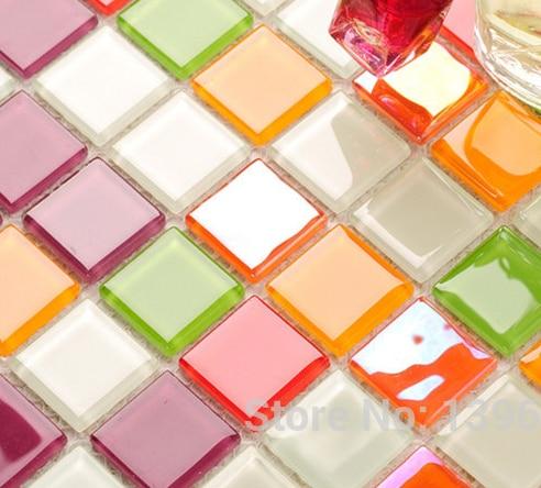 Colorful Puzzle 3Drandom Crystal Glass Mosaicbacksplash Pool Home TileKitchenBathroom Tub
