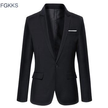 Casual Jacket Solid Color Cotton Men Blazer