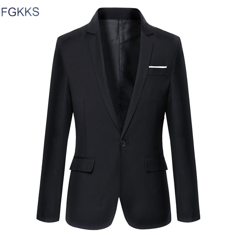 FGKKS Casual Cotton Blazer Classic Mens Suit Jackets Coats