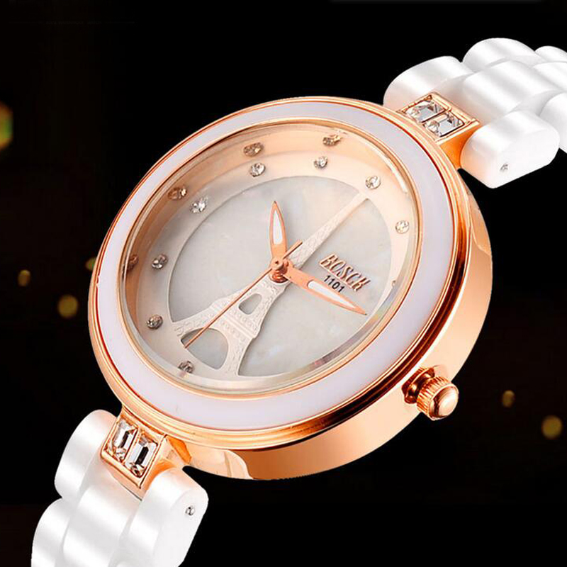 2017 BOSCK Luxury Fashion Ladies Quartz Ceramic Watch Women Clock Female Wrist Casual Dress Watch Rose Gold Relogio Feminino