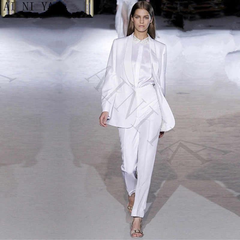 9664251e7f4 Куртка + Брюки для девочек белые элегантные Для женщин Бизнес костюм  профессиональные дамы Брюки для девочек