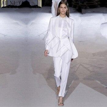 Jacket+Pants White Elegant Women Business Suit Professional Ladies Pantsuits Formal Work Wear Office Uniform Female Trouser Suit