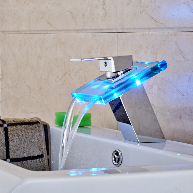 Free Shipping Deck Mounted Bathroom Sink Faucet LED Spout Mixer Tap Chrome Finished