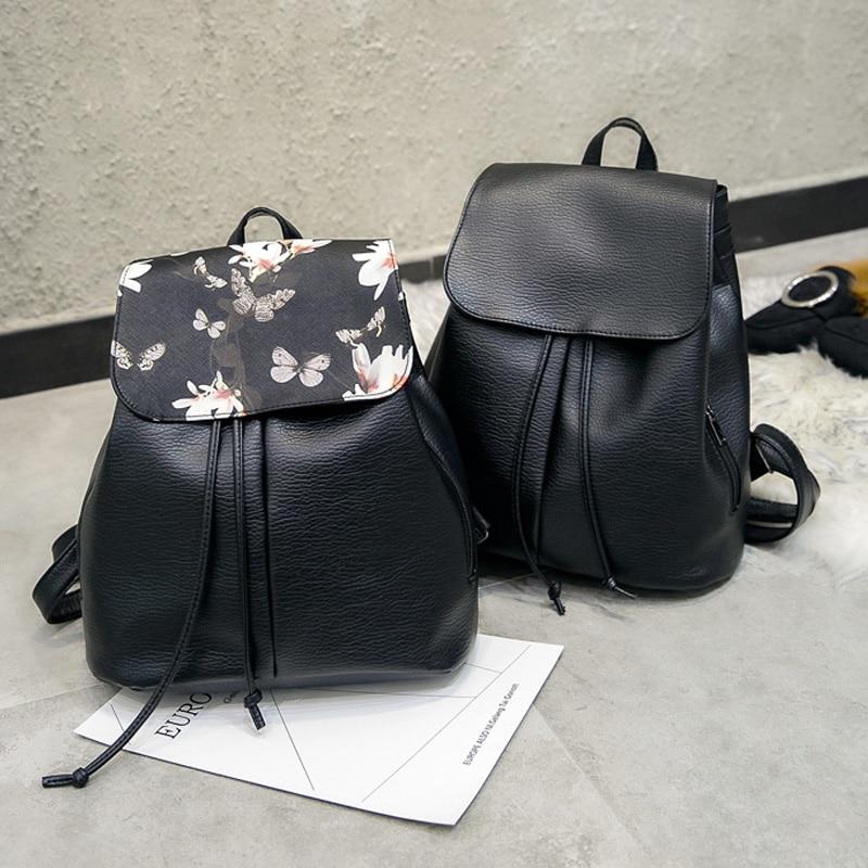 Flower Pattern Women Backpack String Designer Soft PU Leather Ladies Shoulder Bag Female Backpacks Bags Travel Softback Mochila