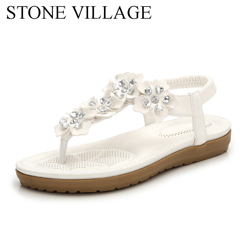 2018 Summer New Crystal Flower Bohemia Women Sandals Flat With Sweet Solid Beach Women Shoes Elastic Band Slip-On Ladies Sandals2018 Summer New Crystal Flower Bohemia Women Sandals Flat With Sweet Solid Beach Women Shoes Elastic Band Slip-On Ladies Sandals