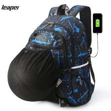 Leaper Männer Rucksack Usb-gebühren Designer Laptop Rucksack Druck Graffiti Tarnung Rucksack Reisetasche Schultaschen Für Jugendliche