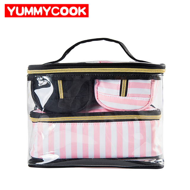 c8f265b7e8b3 4Pcs Lady s Clear PVC Cosmetic Bags Set Portable Makeup Tools Organizer  Case Travel Toiletry Pouch Accessories Supplies Products