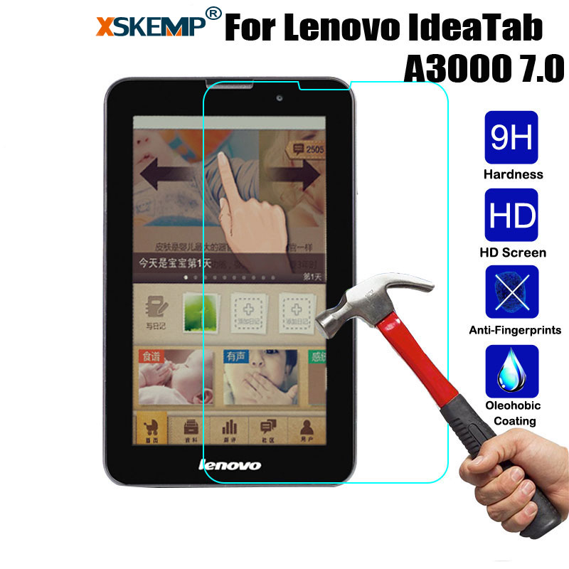XSKEMP 9H Real Anti-Shatter Tempered Glass For Lenovo IdeaTab A3000 7.0 Anti-Explosion Tablet Screen Protector Protective Flim