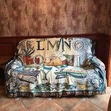 Nórdico pastoral Vintage manta doble cara algodón tejido tapiz de pared sofá toalla cama cubierta felts alfombra Casa de Campo Decoración