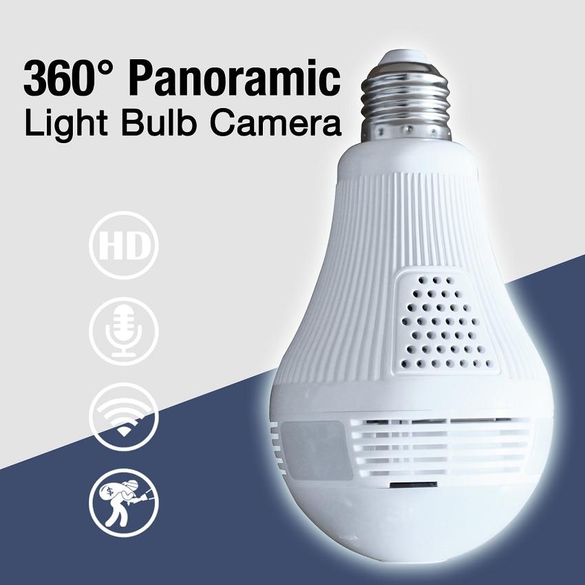 цена на 1.3MP 2MP HD 360 Wide Angle Fisheye Wireless Wi-fi camera 960p 1080p Bulb VR Panoramic IP Camera For iPhone Android iPad APP PC