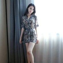 new transparent printing Cardigan Waist belt Pajamas robe bathrobe sexy lingerie lenceria femenina set seks vetement femme
