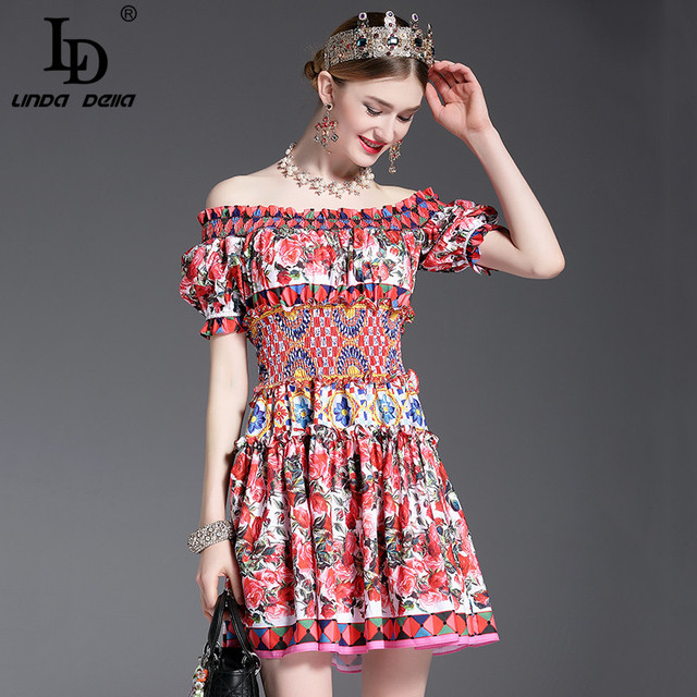New Fashion 2017 Runway Designer Summer Dress Women's Off the Shoulder Slash neck Charming Sexy Rose Floral Printed Short Dress