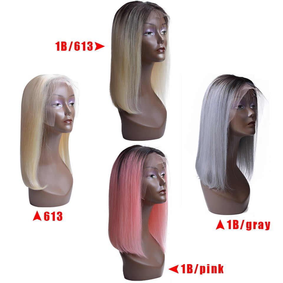 USEXY бразильский человеческих волос, парики T1b/розовый и T1b/серый и T1b/613 & #613 Цвет человеческих волос Кружева Фронтальная парики Бесплатная доставка