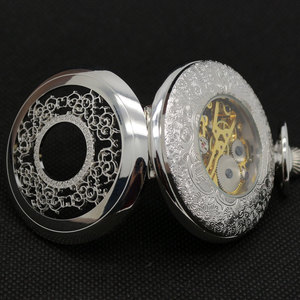 Image 5 - Half Hunter Silver Vintage Mechaincal Hand Wind Pocket Watch Set Fob Chains Best Gift for Men Women