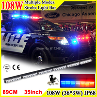 108W Super Bright Led Strobe Flash Warning Light Bar 35'' Led Light Bar 4x4 Offroad Flashlight Amber Red Blue Led Police Lights