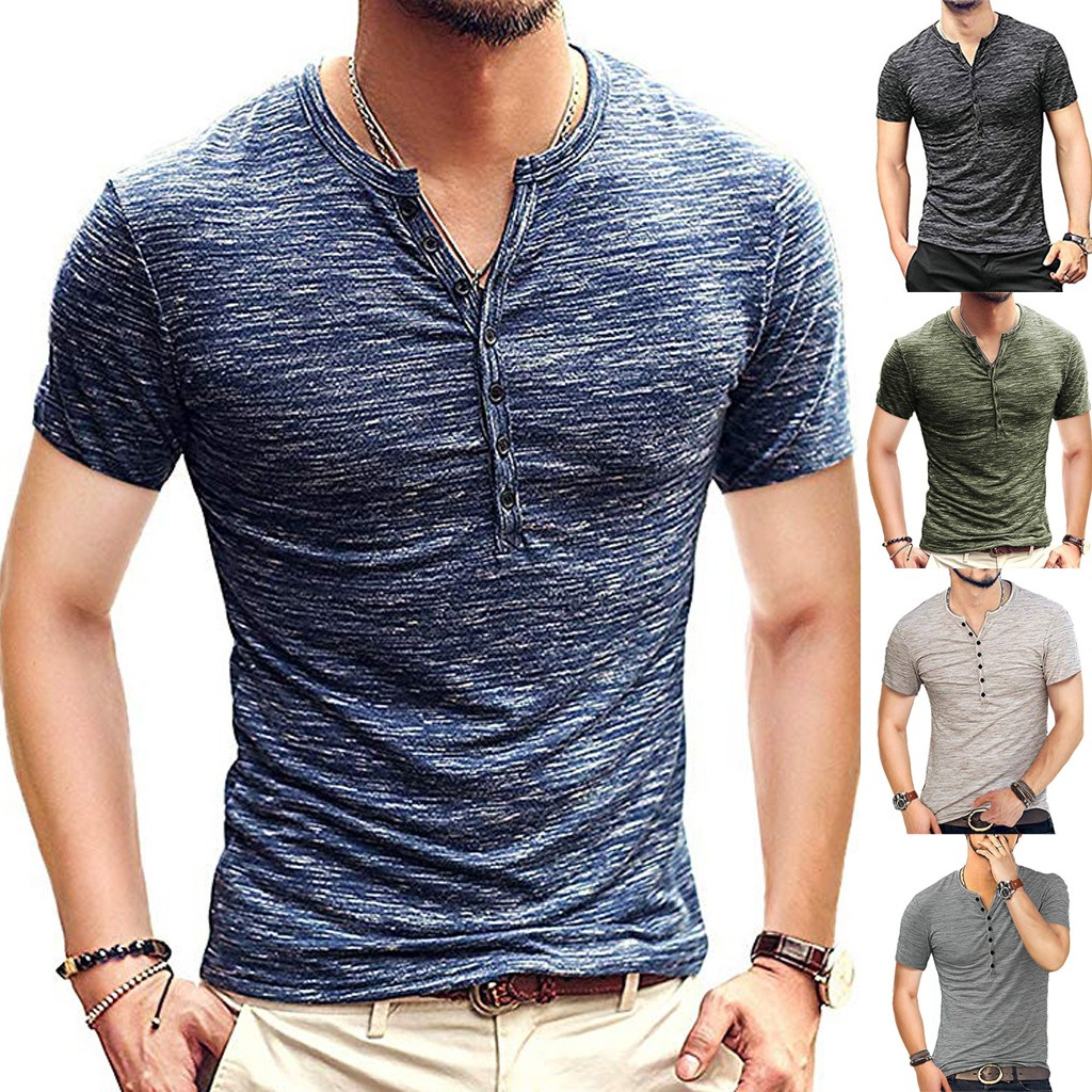 2019 New Style T Shirt Hot Sales Men's Summer New Pure Button Short Sleeves Comfortable Fashion Blouse Top High Quality