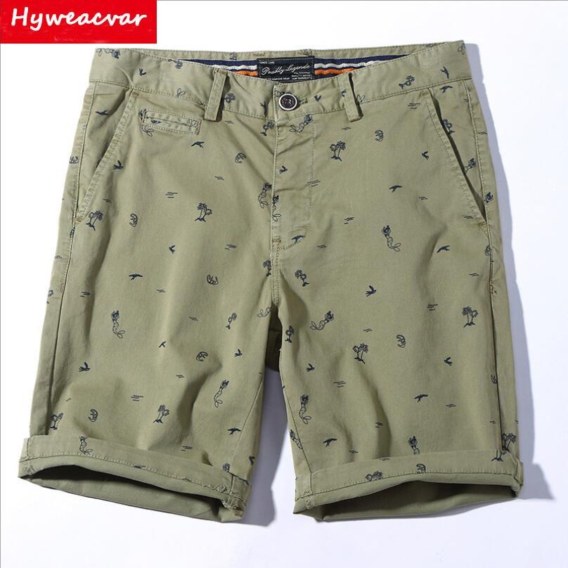 Mens Jacquard Pattern Casual Cargo Pants Cotton Shorts Summer Short Pant