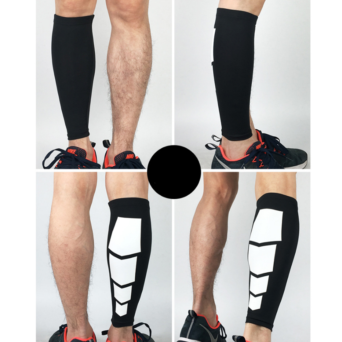 1Pc Compressed Elastic Breathable Leg Guard Calf Socks Protector for Outdoor Climbing - Black M