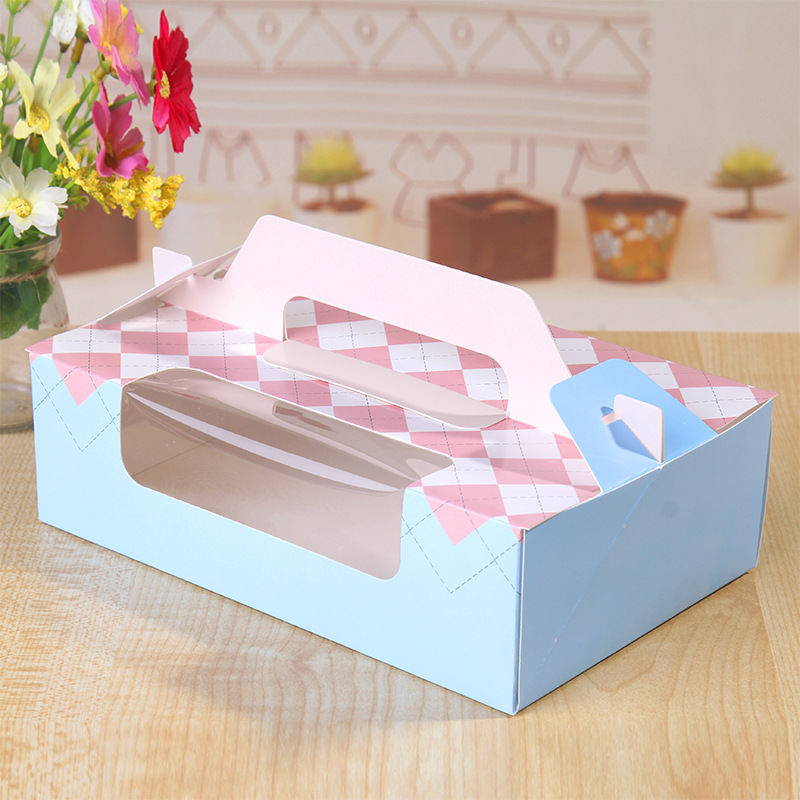 Free shipping bakery package blue pink window decoration for Application box decoration