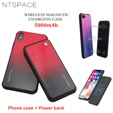 NTSPACE 5000mAh Wireless Magnetic Tempered Glass Battery Charging Case For Xiaomi Mi MIX 2S Power Portable Bank