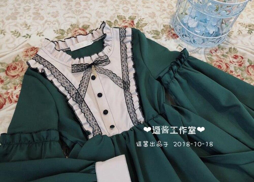 Longues Manches Élégante Vert Atrovirens Lolita Robe Sweet Robes Princesse xWnFvgI