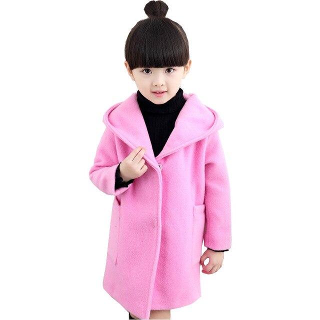 Дети девушки шерстяные пальто осенью и зимой одежда 2016 новый мода дикий ребенок большой девственный шерстяной пальто оптовая ребенка девушки одежда