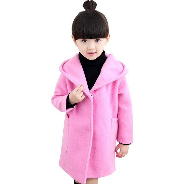 Kids girls woolen coat fall and winter clothes 2016 new fashion wild child big virgin woolen coat wholesale baby girl clothes