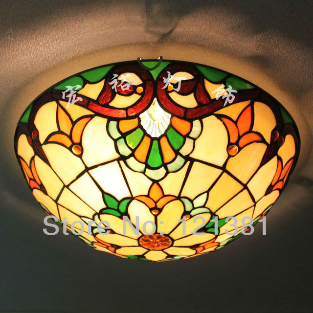 Baroque Tiffany Style Ceiling Light Stained Glass Lampshade ...